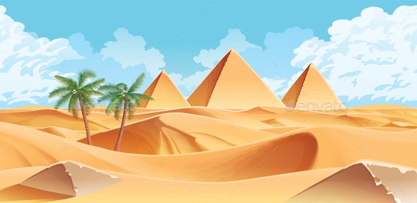 Desert and Palms with Pyramids on the Horizon - Backgrounds Decorative