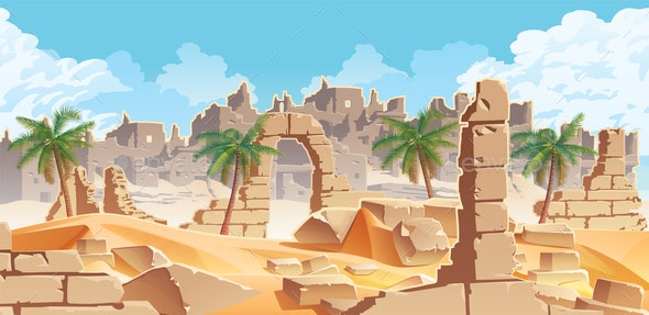 Horizontal Background with Desert and Palms Ruins - Backgrounds Decorative