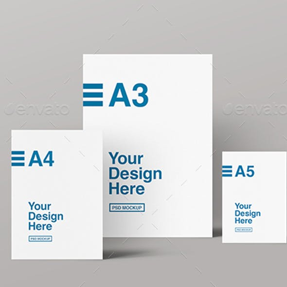 A3, A4 & A5 Front View Mockup