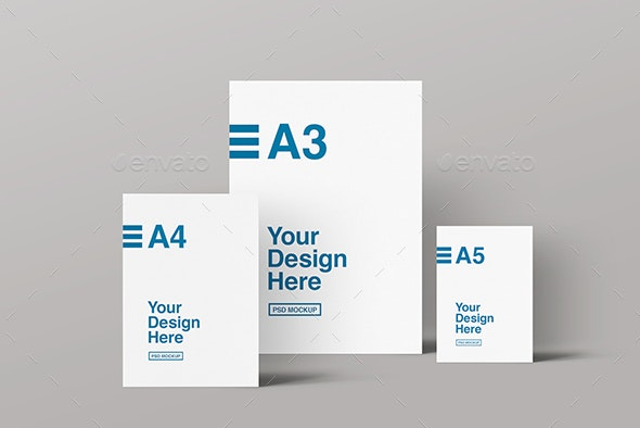 A3, A4 & A5 Front View Mockup - Flyers Print