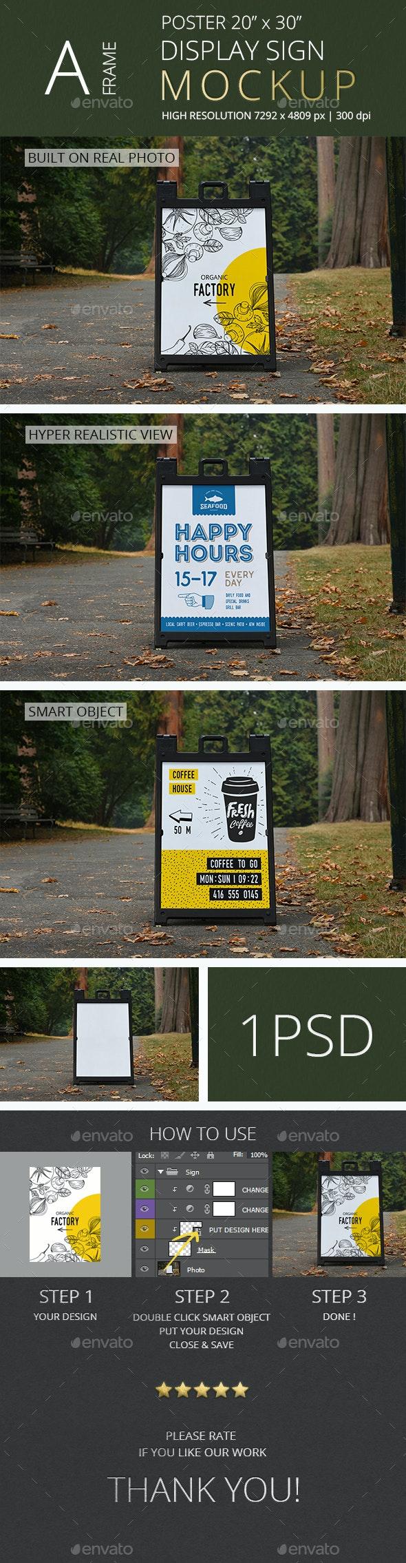 A-Frame Poster Display Sign Mockup/ Vol 2.0 - Signage Print