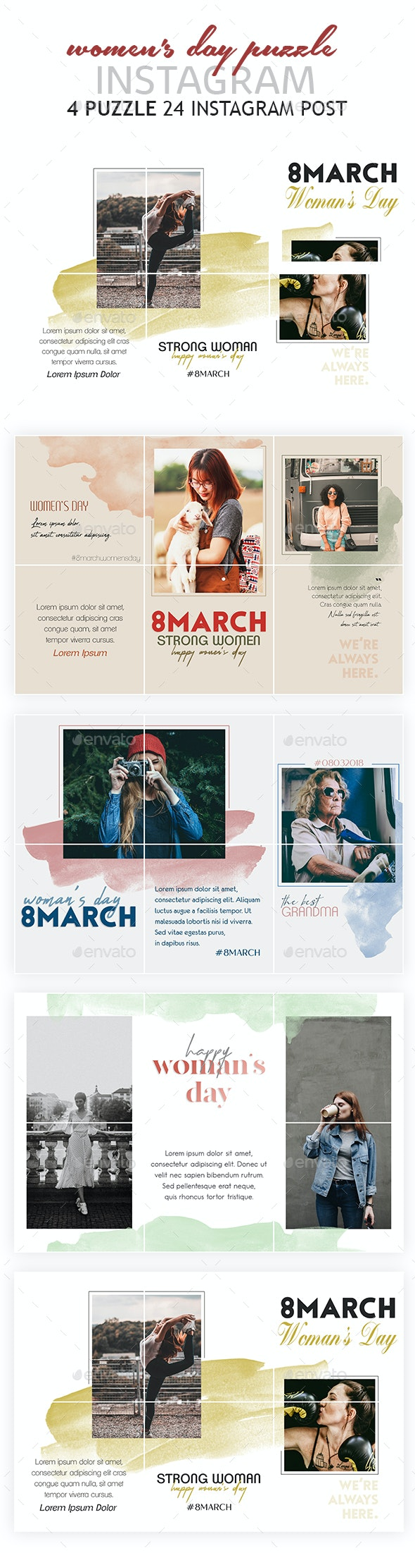 Women's Day Instagram Puzzle Template - Social Media Web Elements