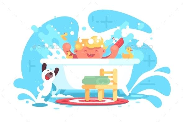 Little Cheerful Baby Having Fun in Bath - Animals Characters