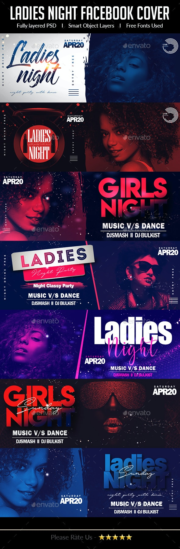 Ladies Night Club Facebook Cover Bundle - Facebook Timeline Covers Social Media