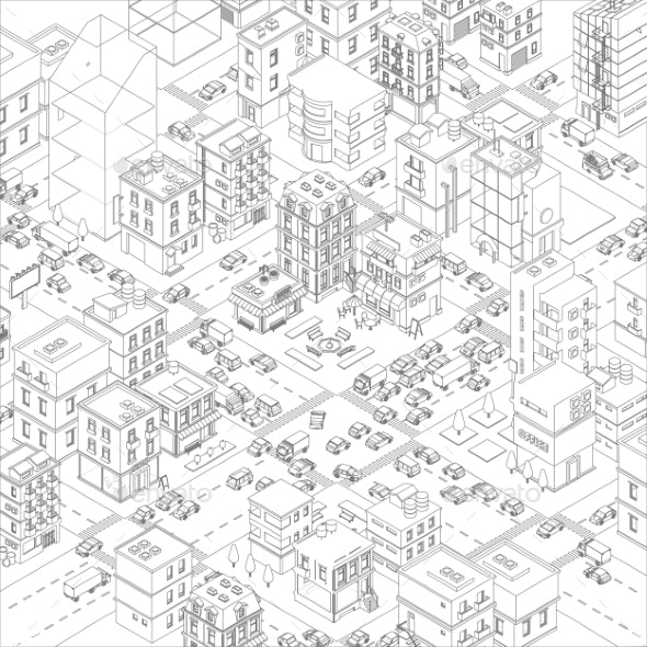 Vector Town City Streets Intersection Outline - Buildings Objects