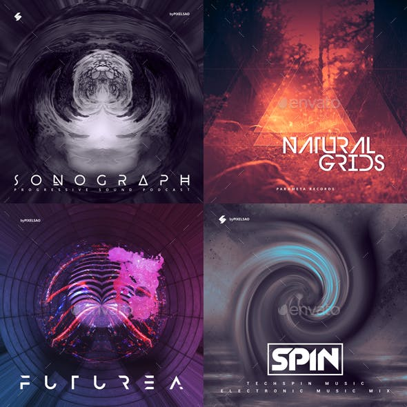 Electronic Music Album Cover Artwork Templates Bundle 7