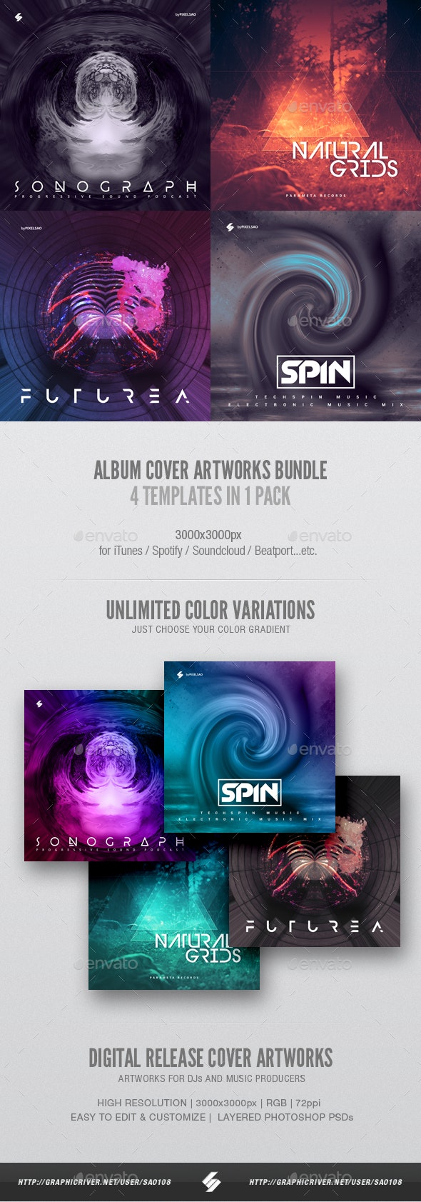 Electronic Music Album Cover Artwork Templates Bundle 7 - Miscellaneous Social Media