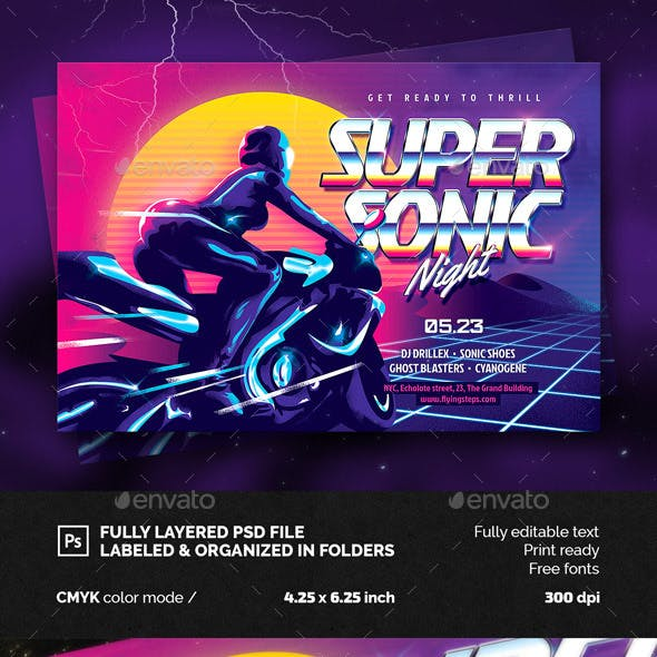 Super Sonic Party Flyer Template