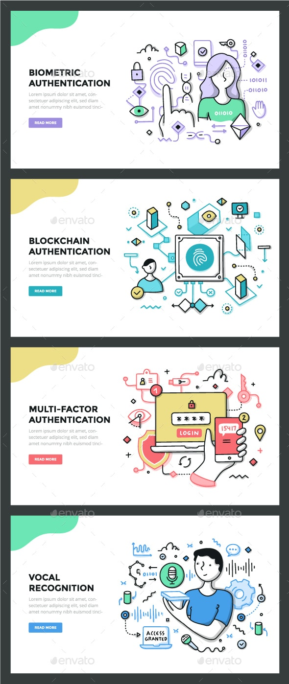 Authentication Technologies Color Line Concepts - Technology Conceptual