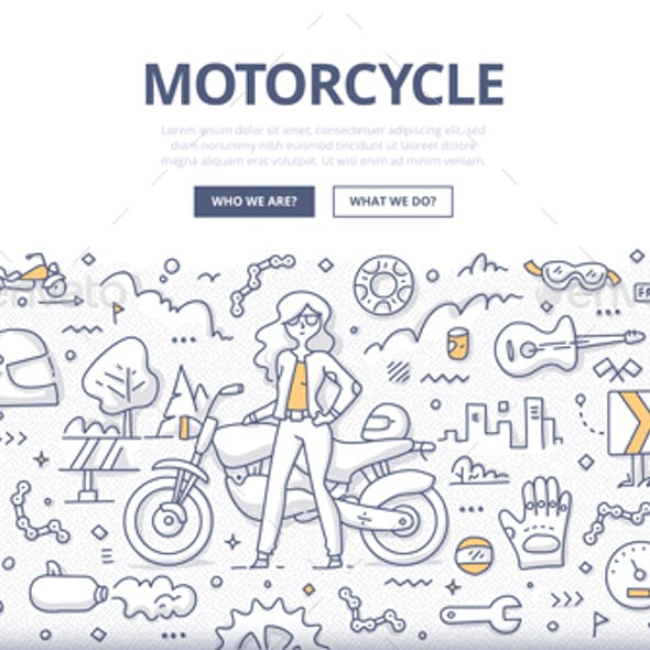 Motorcycle Lifestyle Doodle Concept