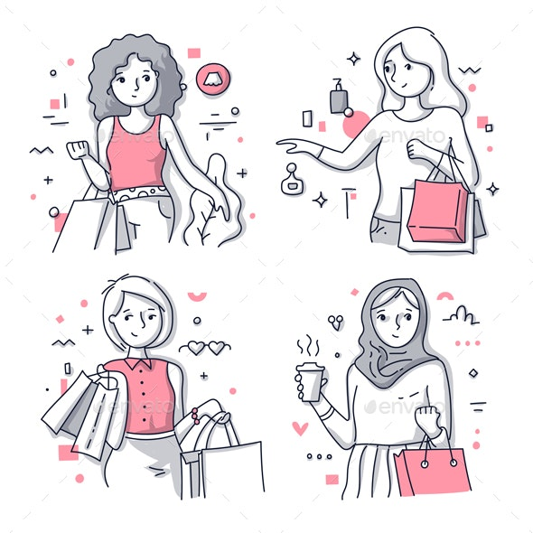 Happy Shopping Women Illustrations - People Characters