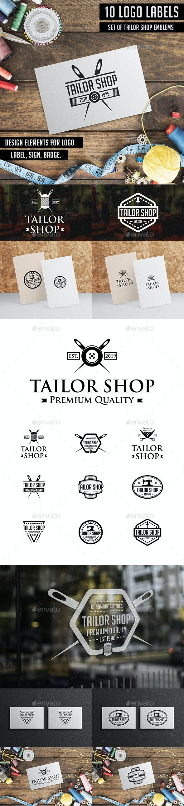 Tailor Sewing Logo Badges & Labels - Badges & Stickers Web Elements