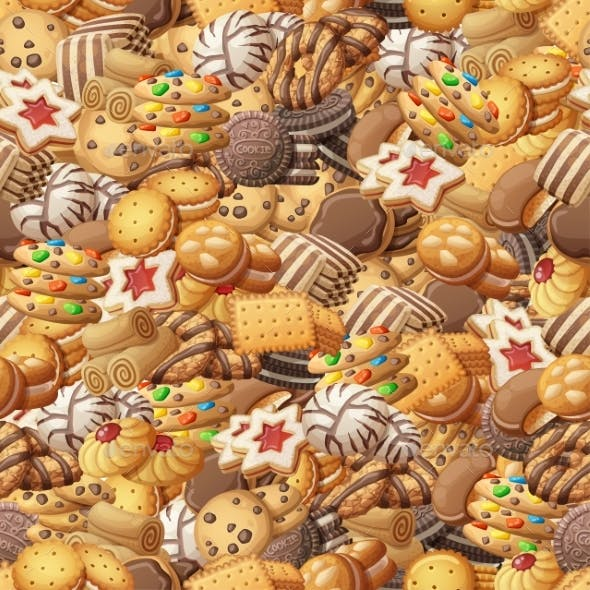 Various Cookies Seamless Pattern Illustration