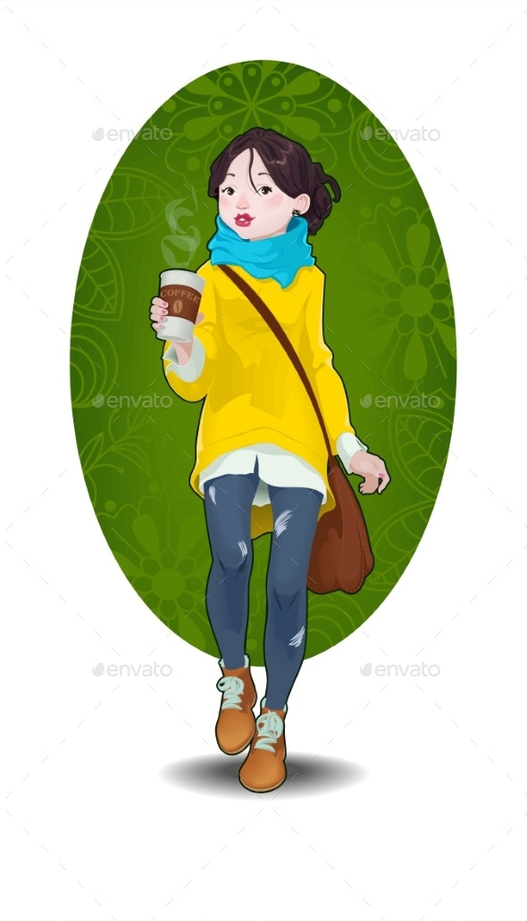 Hipster Girl and Cup of Coffee To Go Illustration - People Characters