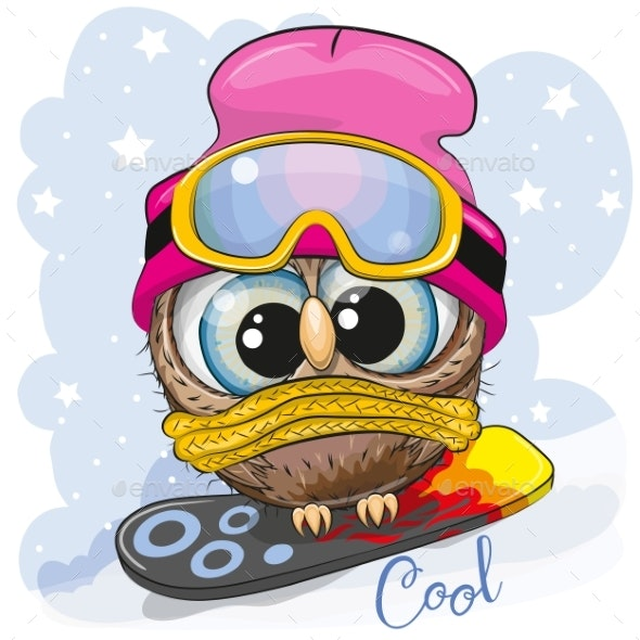 Cartoon Owl on a Snowboard - Animals Characters