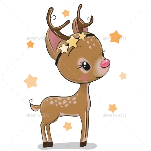 Christmas Deer on a White Background - Seasons/Holidays Conceptual
