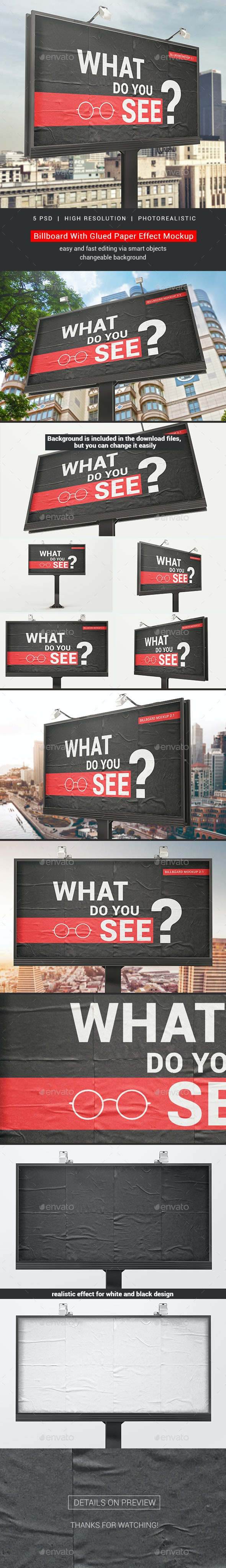 Billboard With Glued Paper Effect Mockups - Miscellaneous Print