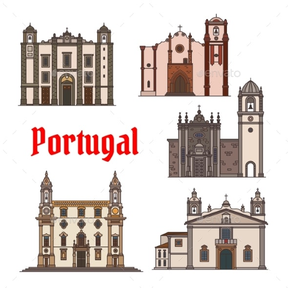 Portuguese Travel Landmark Icon for Travel Design - Buildings Objects
