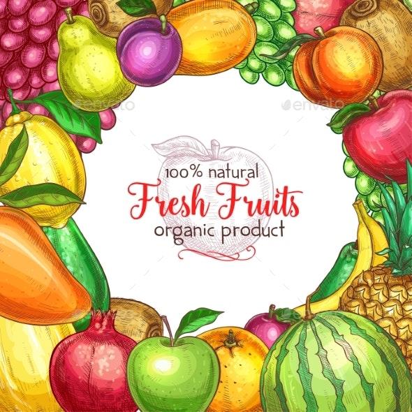 Fruit Frame Sketch Poster for Food - Food Objects