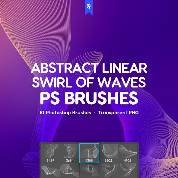 Linear Swirl of Waves Photoshop Brushes