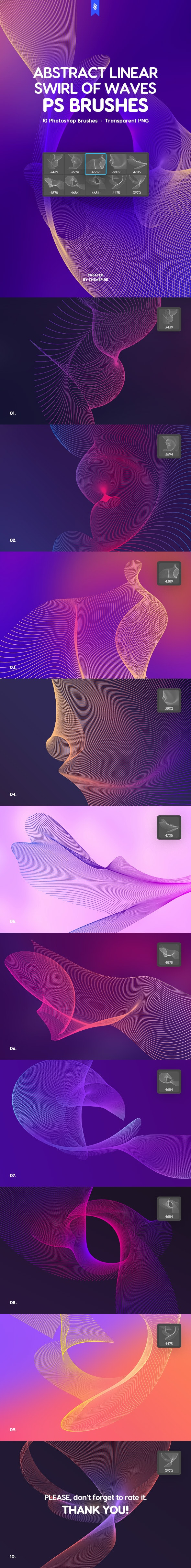 Linear Swirl of Waves Photoshop Brushes - Abstract Brushes