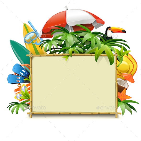 Vector Bamboo Frame with Beach Accessories - Travel Conceptual