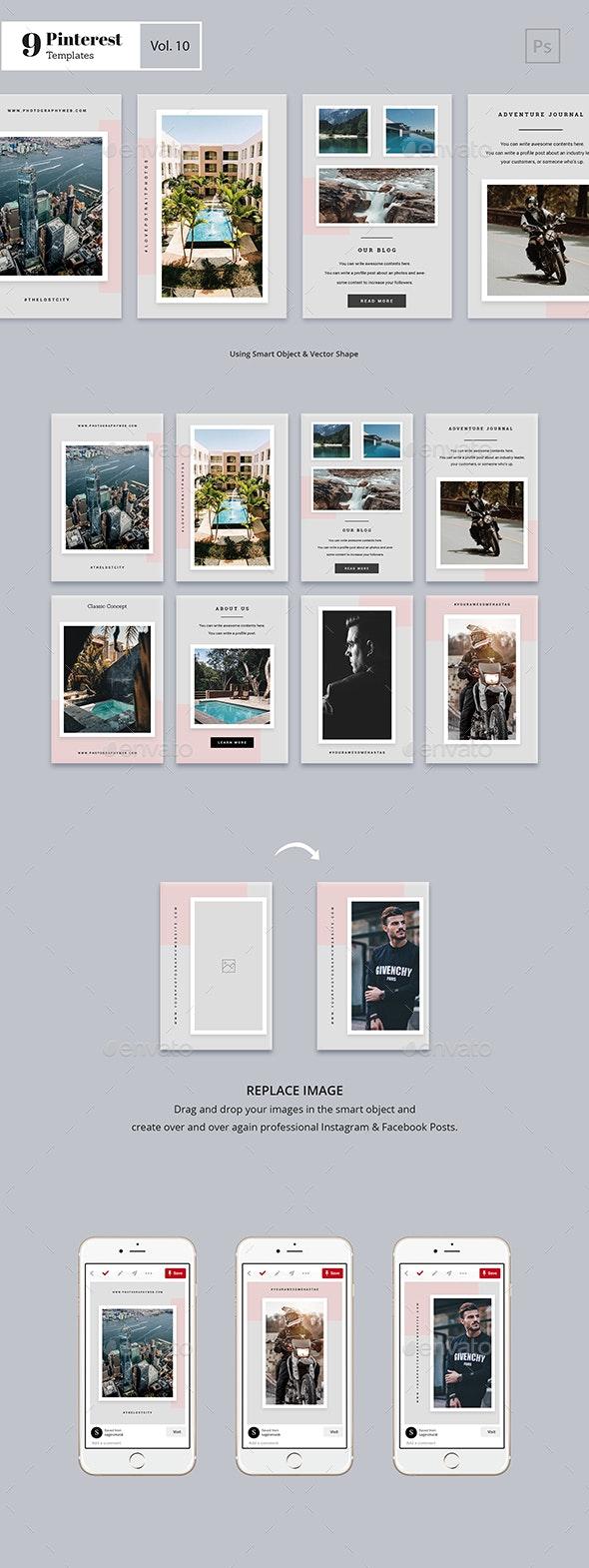 Pinterest Templates Vol. 10 - Social Media Web Elements