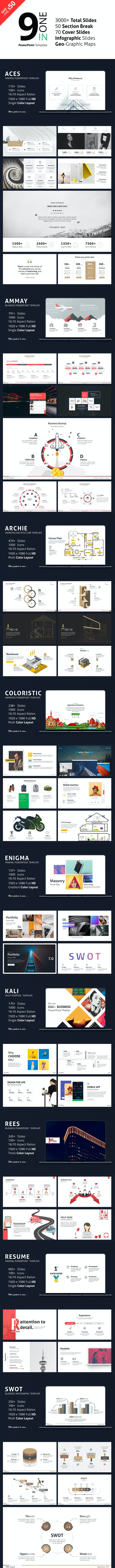 9 in 1 PowerPoint Template - Bundle - PowerPoint Templates Presentation Templates