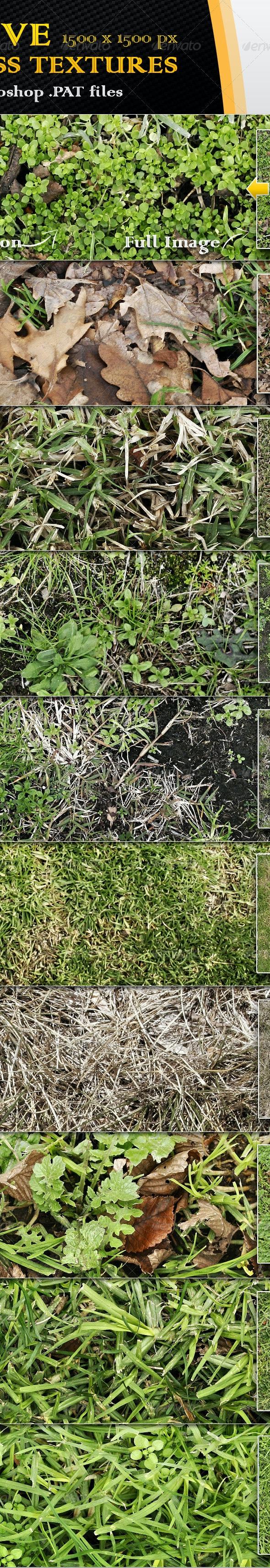 10 Seamless Grass Textures 2 - Nature Textures / Fills / Patterns