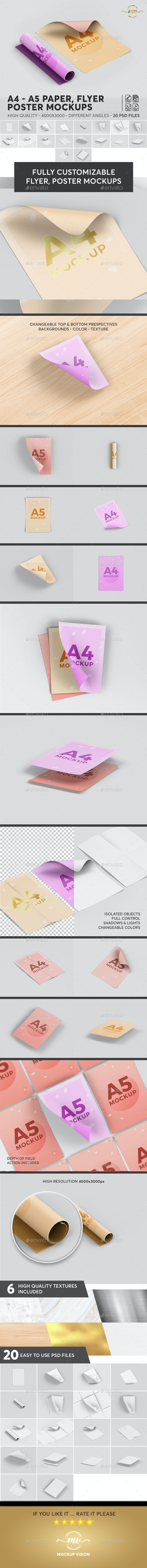 A4 - A5 Paper / Flyer / Poster Mockups V2 - Posters Print