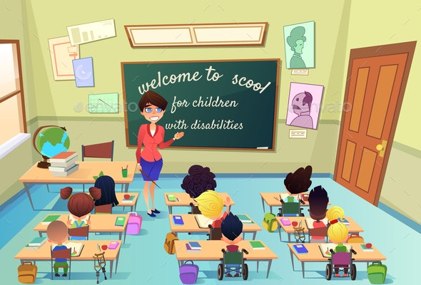 Education for Kids with Special Needs Vector - People Characters