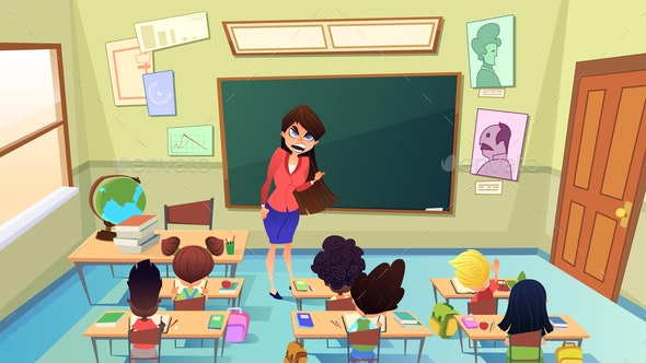Angry Nervous Teacher Cartoon Vector Concept - People Characters