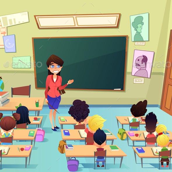 Lesson in Elementary School Cartoon Vector