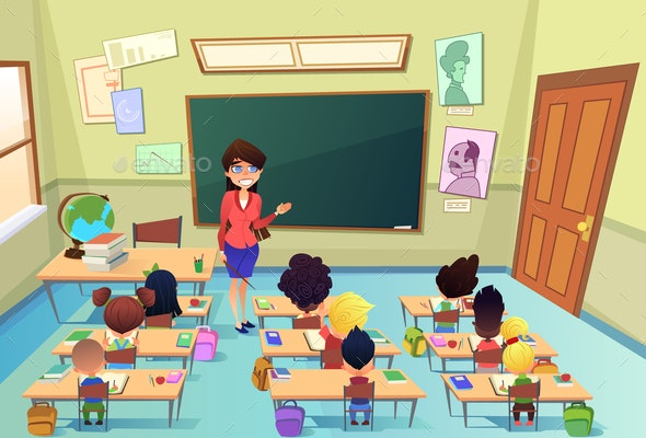Lesson in Elementary School Cartoon Vector - People Characters