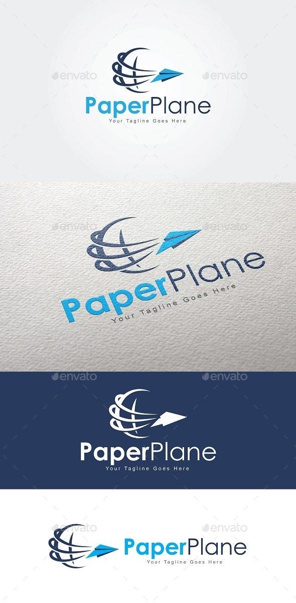 Paper Plane Globe Logo - Symbols Logo Templates