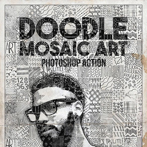 Doodle Mosaic Art Photoshop Action