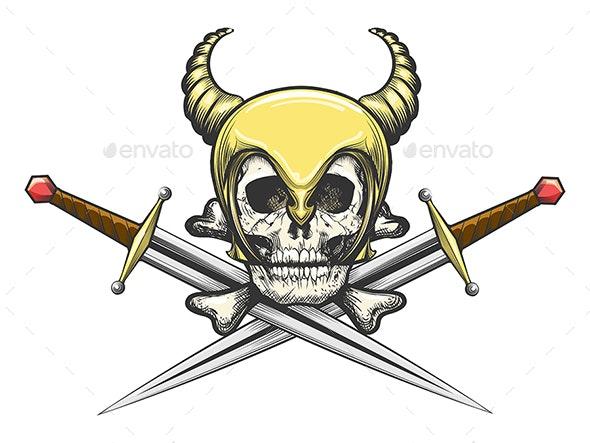 Viking Skull in Helmet with Swords - Tattoos Vectors