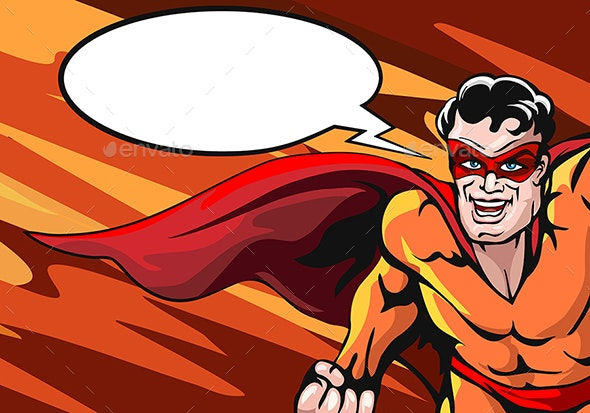 Superhero with Empty Speech Bubble - People Characters