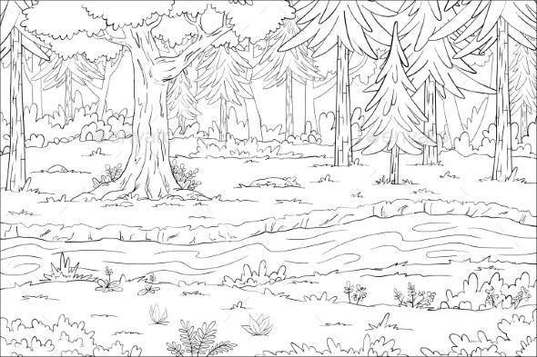 Coloring Book Landscape - Backgrounds Decorative
