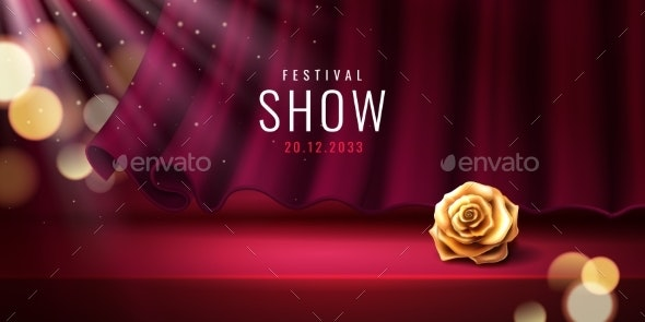 Theater Stage and Curtain for Festival Banner - Miscellaneous Vectors