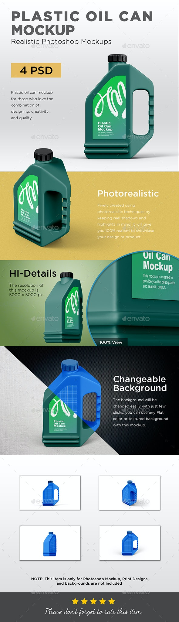 Plastic Oil Can Mockup - Packaging Product Mock-Ups