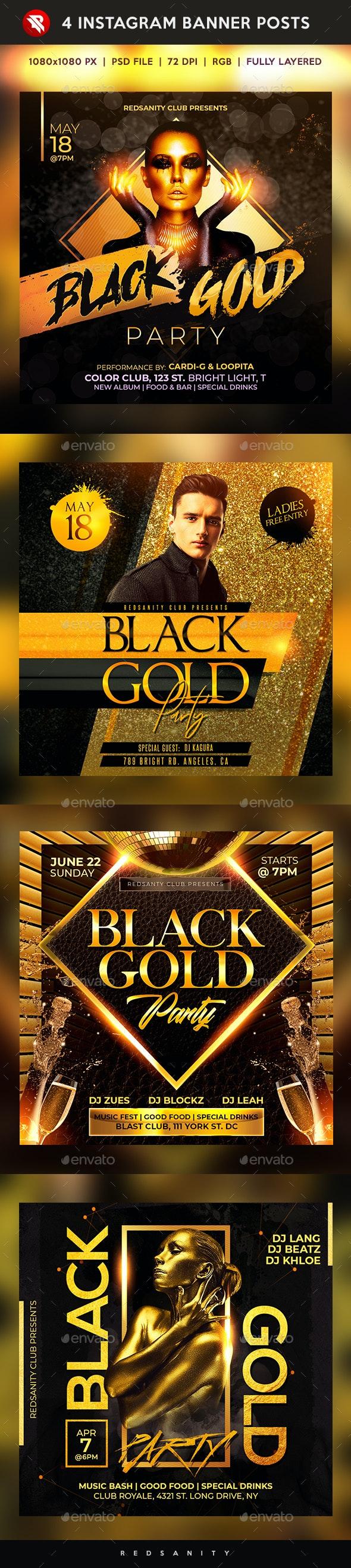 Black Gold Party Instagram Banner Posts - Social Media Web Elements