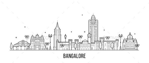Bangalore Skyline Karnataka India City Vector Line - Buildings Objects