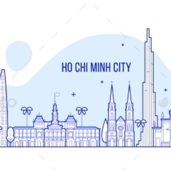 Ho Chi Minh Skyline Vietnam City Buildings Vector