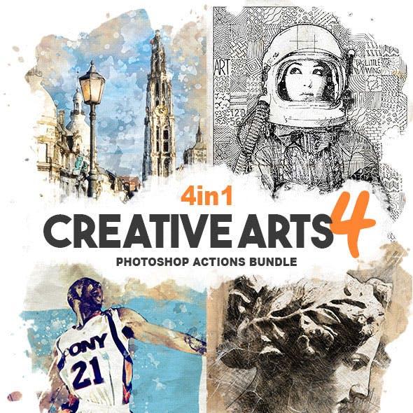 4-in-1 Creative Arts Bundle Photoshop Action v4