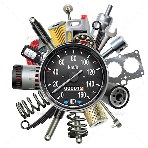 Vector Car Spares Concept with Speedometer - Industries Business