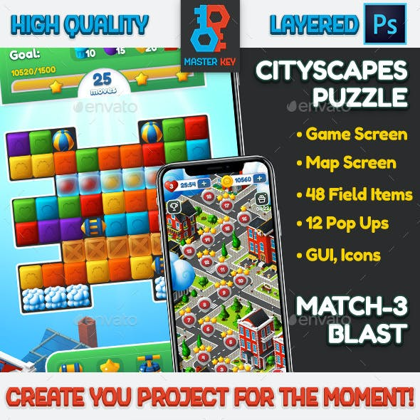 CityScapes Blast and Match-3 Puzzle Full Asset