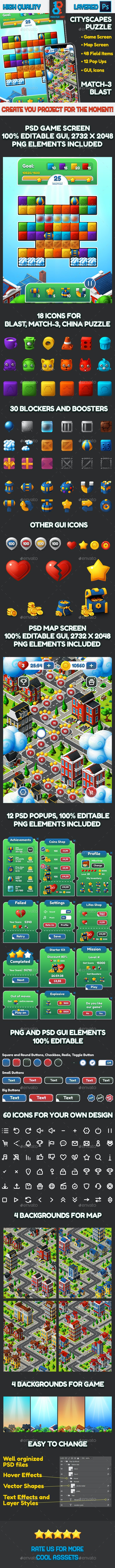 CityScapes Blast and Match-3 Puzzle Full Asset - Game Kits Game Assets