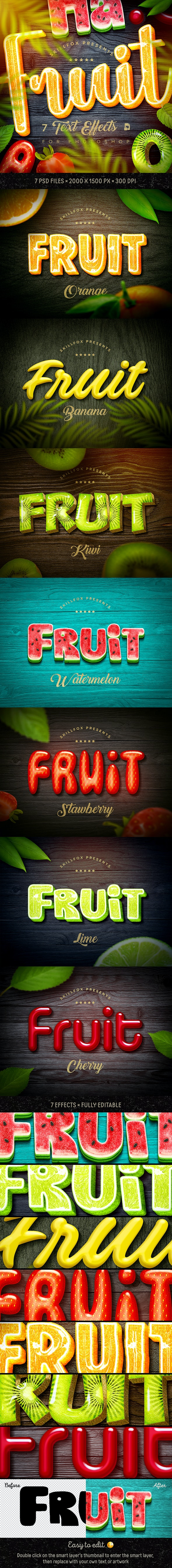 Fruit Text Effects х7 Psd - Text Effects Actions