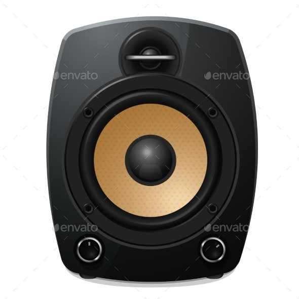 Black Sound Speaker on White Background - Man-made Objects Objects